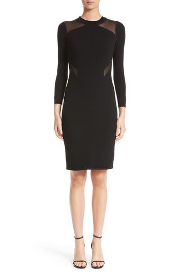 Versace Collection Sheer Detail Knit Dress, US / 42 IT - Black