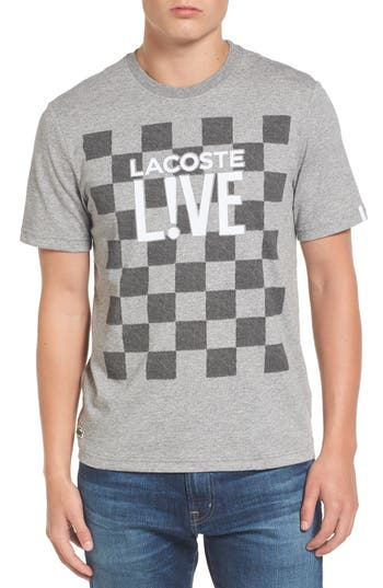 Lacoste Check Graphic T-Shirt,  Grey