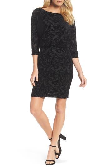 Adrianna Papell Burnout Velvet Blouson Dress, Black