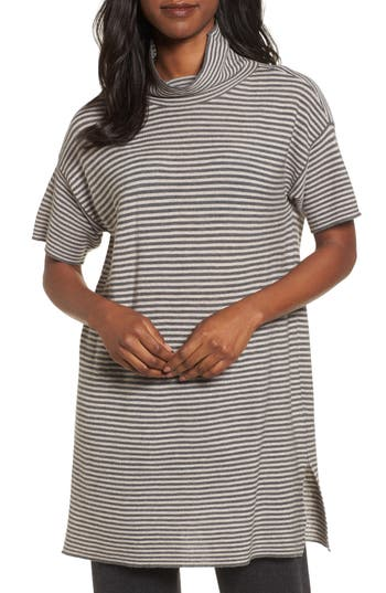 Eileen Fisher Stripe Merino Wool Tunic, Grey