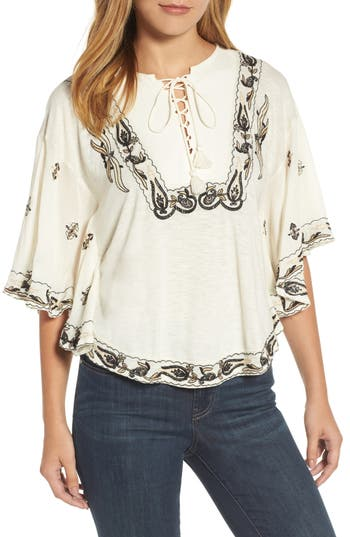 Lucky Brand Embroidered Lace Up Peasant Top, Ivory