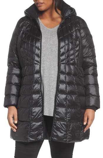 Plus Size Bernardo Quilted Jacket With Down & Primaloft Fill, Black
