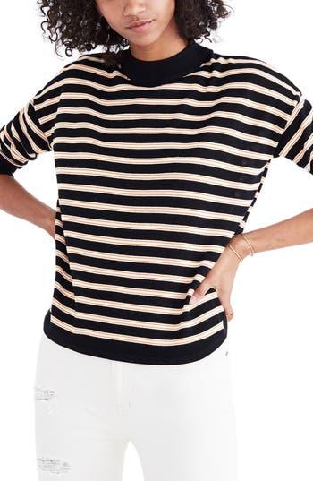 Women's Madewell Stripe Mock Neck Boxy Sweater, Size XX-Small - Black