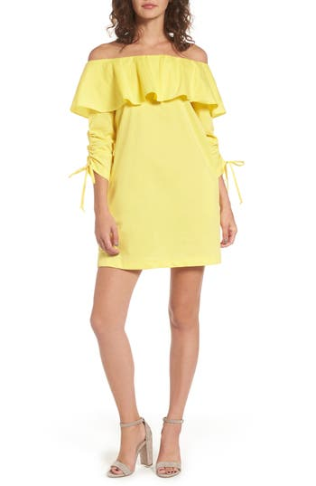 Socialite Cinch Sleeve Off The Shoulder Dress, Yellow
