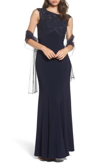 Xscape Crystal Embroidered Mermaid Gown, Blue