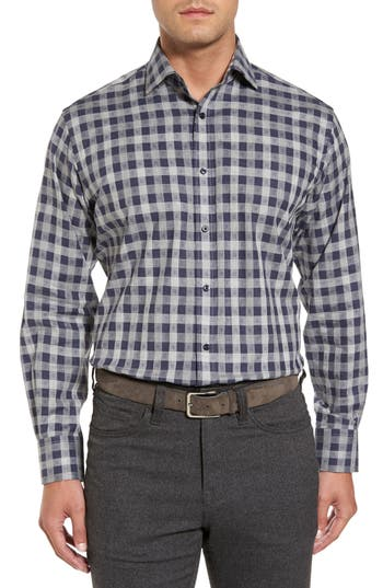Men's Thomas Dean Classic Fit Check Sport Shirt