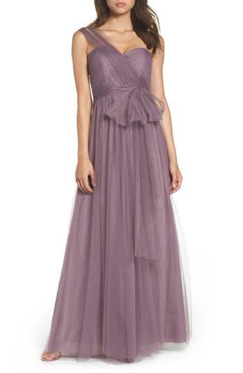 Jenny Yoo Annabelle Convertible Tulle Column Dress, Purple