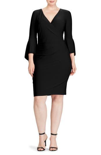 Plus Size Women's Lauren Ralph Lauren Bell Sleeve Faux Wrap Dress, Size 14W - Black