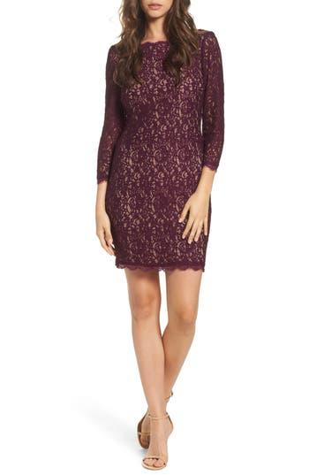 Women's Adrianna Papell Lace Overlay Sheath Dress, Size 12 - Burgundy