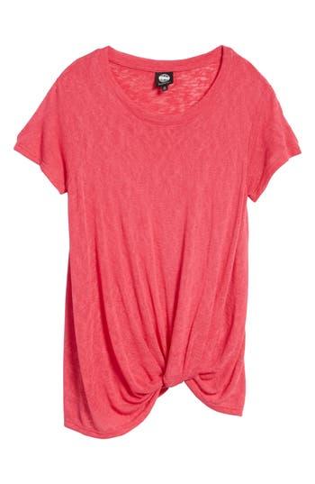 Women's Bobeau Jessica Twist Hem Slub Tee, Size X-Small - Pink