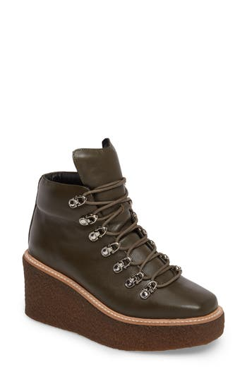 Jeffrey Campbell Viajar Waterproof Platform Wedge Bootie- Brown
