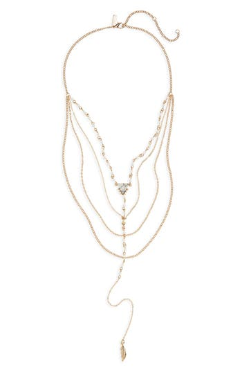 Women's Topshop Long Multi Chain Leaf Drop Necklace