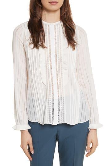 Women's Rebecca Taylor Silk & Lace Long Sleeve Blouse