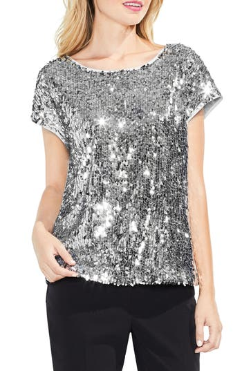 Women's Vince Camuto Sequin Front Top, Size Large - Metallic