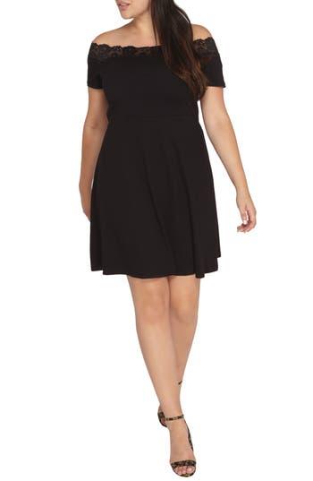 Plus Size Women's Dorothy Perkins Off-The-Shoulder Lace Trim Dress, Size 14W US / 18 UK - Black