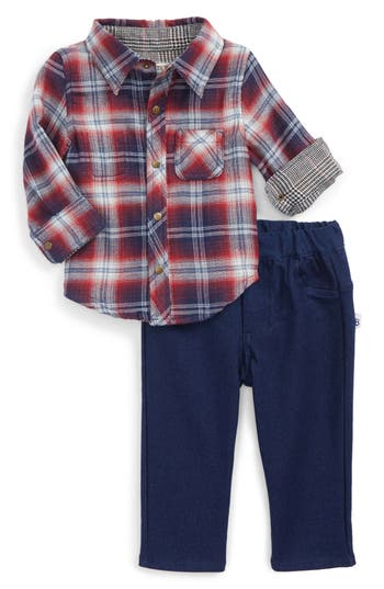Infant Boys Little Brother By Pippa  Julie Reversible Woven Shirt  Pants Set