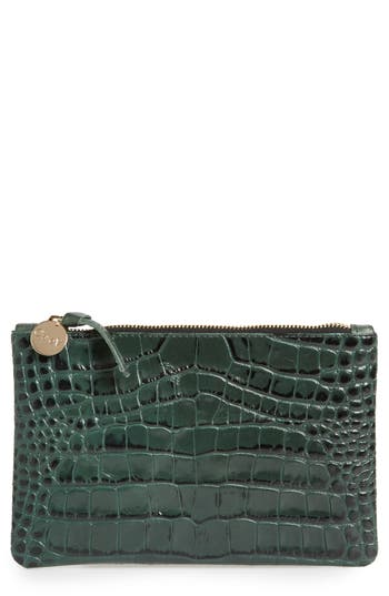 Clare V. Croc Embossed Leather Clutch - Green