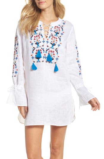 Tory Burch Wildflower Embroidered Cover-Up Tunic, Ivory