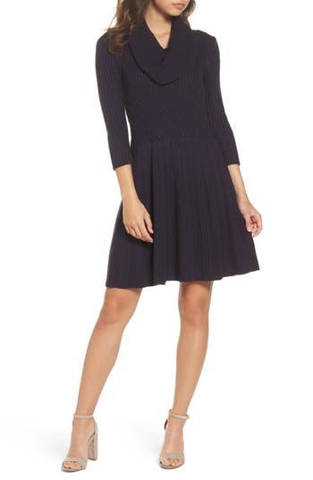 Eliza J Cowl Neck Sweater Dress, Blue