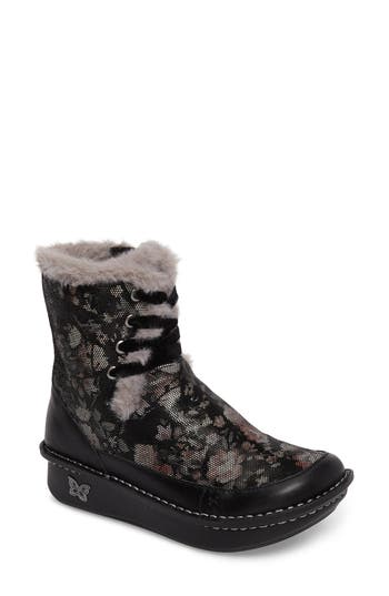 Alegria Twisp Lace-Up Boot With Faux Fur Lining, Black