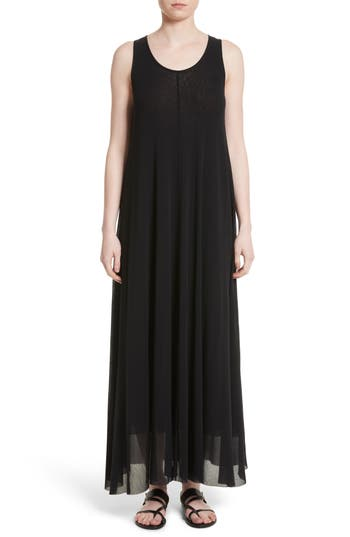 Fuzzi Belted Tulle Maxi Dress, Black