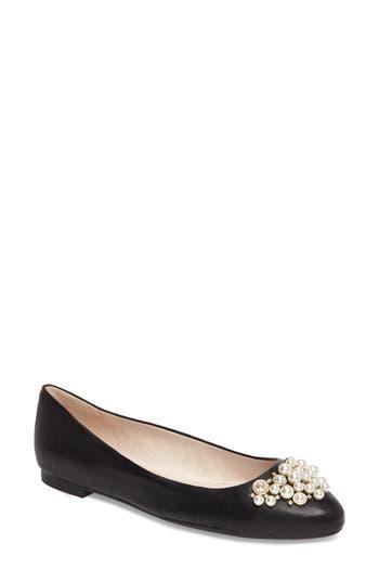 Louise Et Cie Arella Imitation Pearl Embellished Flat, Black