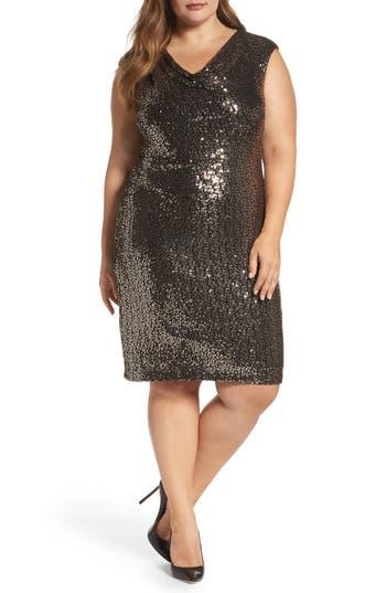 Plus Size Eliza J Drape Neck Sequin Sheath Dress, Metallic