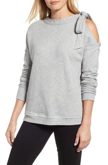 Caslon Tie Cold Shoulder Sweatshirt, Grey