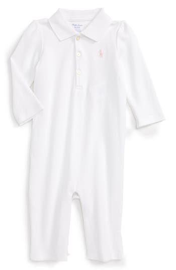 Infant Girl's Ralph Lauren Ruffle Cotton Romper