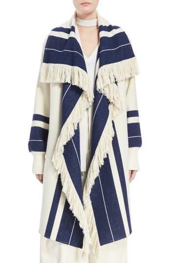 Women's Chloe Stripe Blanket Coat, Size 2 US / 34 FR - White