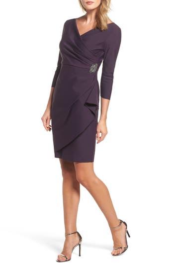 Alex Evenings Embellished Ruched Sheath Dress, Purple
