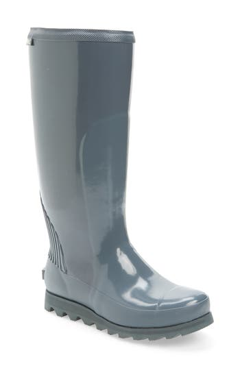 Sorel Joan Glossy Tall Rain Boot, Grey