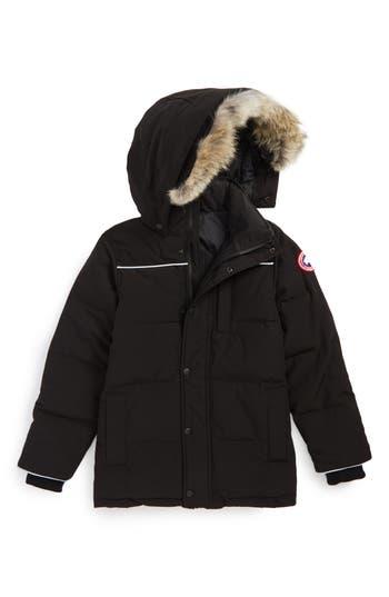 Boys Canada Goose Eakin Genuine Coyote Fur Trim Down Parka Size XS  6  Black