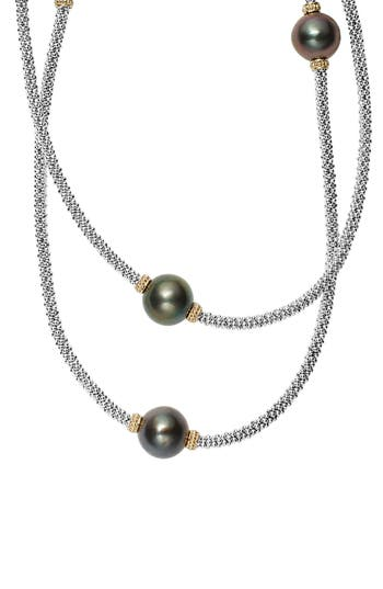 Women's Lagos Luna Long Pearl Station Necklace