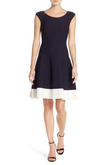 Eliza J Colorblock Fit & Flare Sweater Dress, Blue