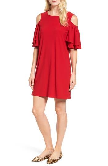 Halogen Cold Shoulder Shift Dress, Red