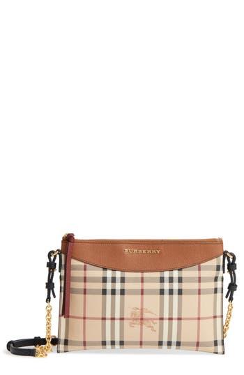 Burberry Peyton - Haymarket Check Coated Canvas Crossbody Bag - Beige