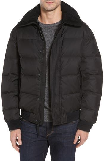 Andrew Marc Pinnacle Quilted Down Jacket With Genuine Shearling Collar, Black