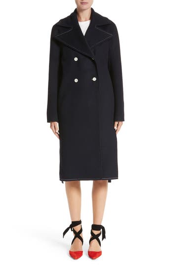 Women's Rejina Pyo Double Breasted Wool Blend Coat, Size Small - Blue