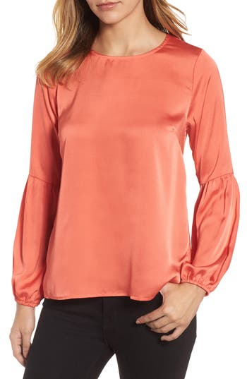 Women's Bobeau Bubble Sleeve Satin Top, Size XX-Small - Coral