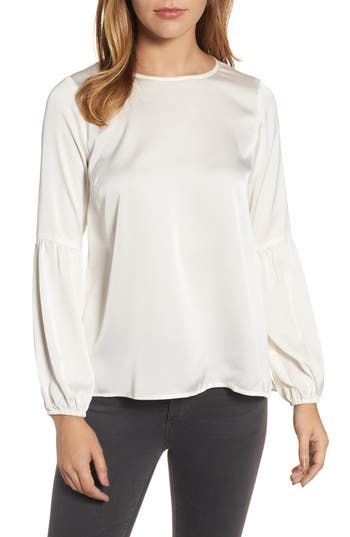 Women's Bobeau Bubble Sleeve Satin Top, Size XX-Small - Ivory