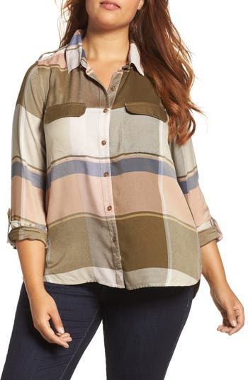 Plus Size Lucky Brand Plaid A-Line Shirt, Pink
