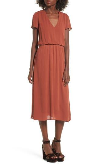 Wayf Blouson Midi Dress, Brown