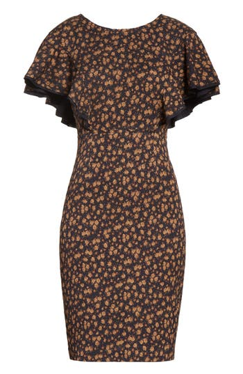 Tracy Reese Flounce Sleeve Sheath Dress, Brown