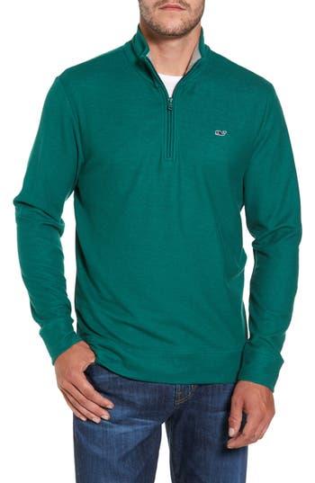 Men's Vineyard Vines Reverse Oxford Quarter Zip Pullover, Size Small - Green