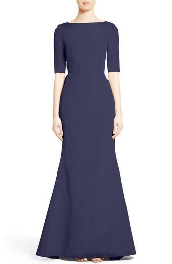 Carolina Herrera Draped V-Back Gown, Blue