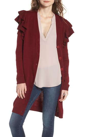 Women's Soprano Ruffle Shoulder Cardigan, Size Medium - Burgundy