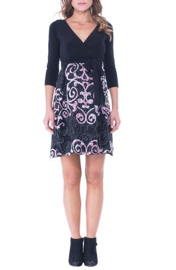 Women's Olian Print Faux Wrap Maternity Dress, Size Small - Black