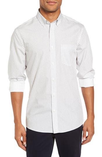 Men's Nordstrom Men's Shop Trim Fit Non-Iron Circle Print Sport Shirt, Size Small - Ivory