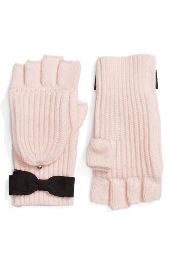 Kate Spade New York Grosgrain Bow Convertible Knit Mittens, Size One Size - Pink